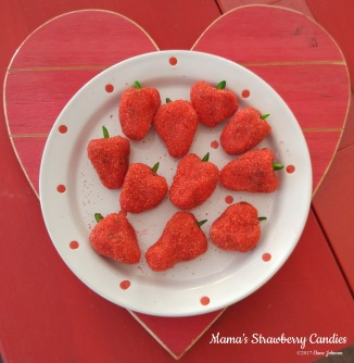 Strawberry Jello Candies with copyright